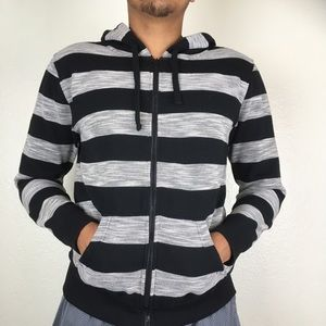 Blue Crown Striped Zip Up Hoodie
